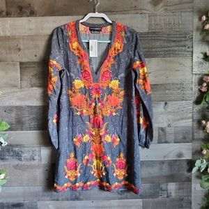 Anthropologie Hemant And Nandita Neon Embroidered